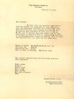 Obstetrics Division Admission Letter